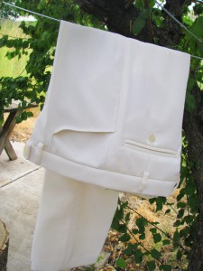 Women's white wool pants