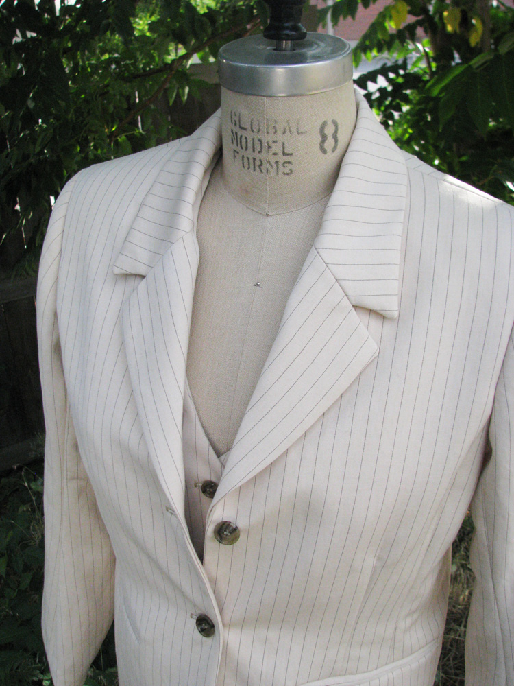 Women's white pinstripe suit