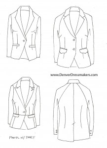 Traditional Womens Suit Jacket Sketches