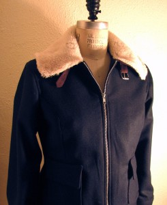 Wool Melton Peacoat with Shearling Collar