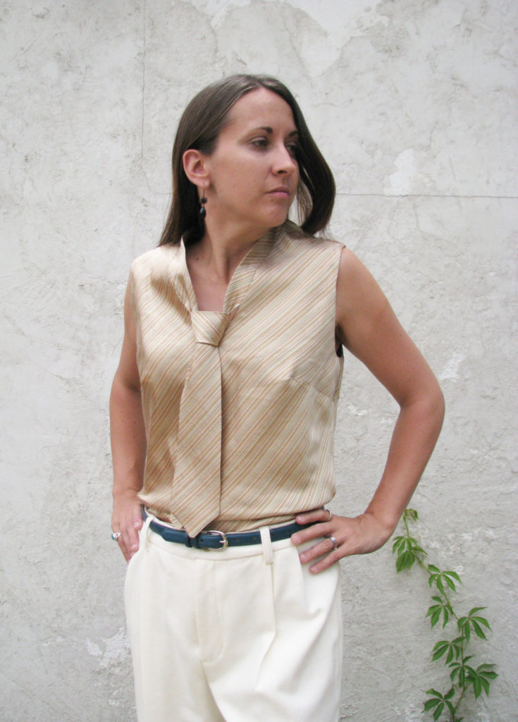 Bias Cut Blouse Made from Silk Douppioni