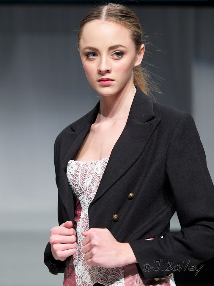 Cropped Tuxedo Jacket with Silk and Lace Corset